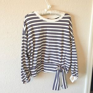 Kensie Stripe Ruched Long Sleeve Bow Sweater